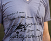 Men's Short Sleeve Grey Gunga Shirt design closeup