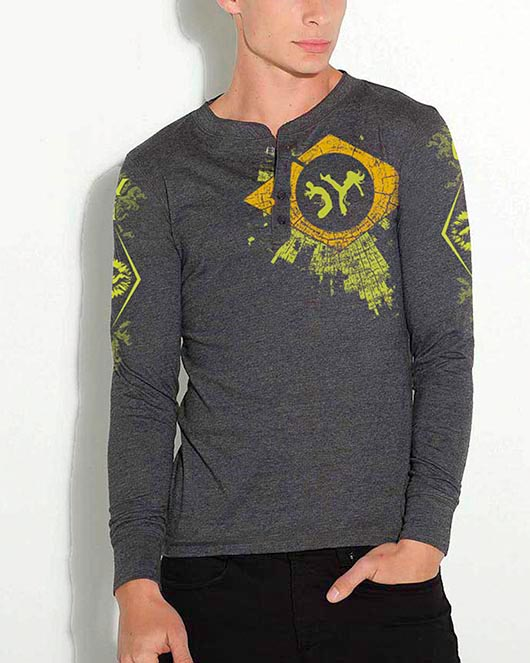 Men's Grey Long Sleeve Shirt