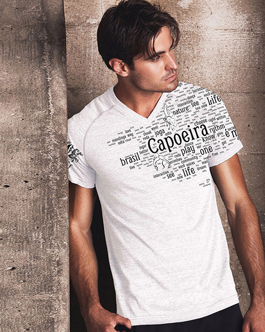 Men's White V Neck Words Shirt