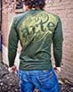 Men's Long Sleeve green Arte Shirt design closeup view