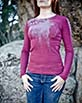 Women's Long Sleeve Red Wine Arte Shirt Front View