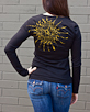 Women's Long Sleeve Black Berimbau Shirt back view