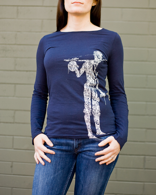 Women's Long Sleeve Navy Berimbau Shirt