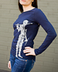 Women's Long Sleeve Navy Berimbau Shirt side view