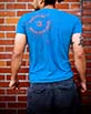 Men's Short Sleeve blue Berimbau Player Shirt side view