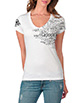 Women's White V Neck Words Shirt